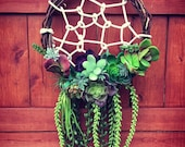 Succulent Dreamcatcher, Succulent Wreath, Artificial Succulent Dreamcatcher, Spring Wreath, Faux Succulents Wreath, Garden Dreamcatcher