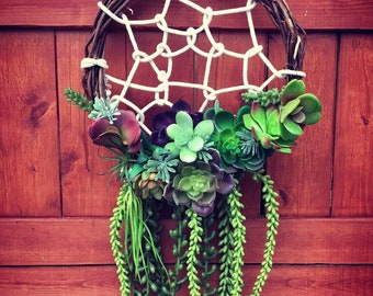 Succulent Dreamcatcher, Succulent Wreath, Artificial Succulent Dreamcatcher, Spring Wreath, Faux Succulents Wreath, Garden Dreamcatcher