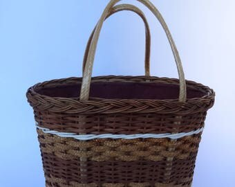 Vintage french 1950's wicker, straw and plastic shopping basket long handles