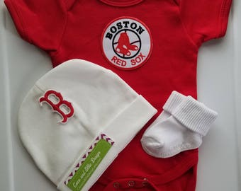 baby boy boston red sox outfit with hat-boston red sox gift for baby-boston red sox baseball romper-red sox creeper-red sox for baby