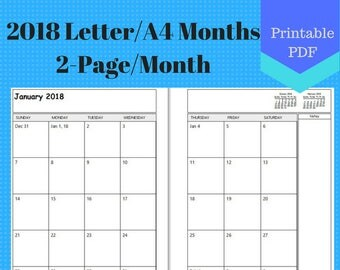 2018 Letter Size Two Page Per Month, Monthly Calendar Pages, Planner, Ringbound, Discbound, A4, 2 page per month
