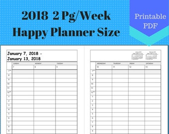 2018 Happy Full Year Weekly, Vertical 2 Page Per Week, Hourly, Weekly Calendar Insert Pages, Planner, Discbound, Mambi