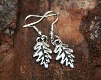 Oak leaf earrings, inspired by nature, nature inspired jewelry, elven jewelry, oak leaf jewelry, nature lover, gift for her