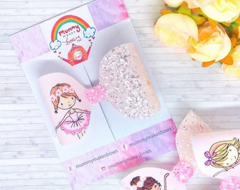 Ballerina bows, glitter ballerina hair bow, ballet bow, pink glitter bow, medium bows, toddler bows, baby headbands,pigtail bows, baby bows