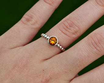 Round Citrine Birthstone Ring