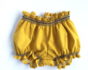 Boho Baby Shorts, Bohemian Baby Clothes, Baby Girl Bubble Shorts, Baby Bloomers, Baby Girl Diaper Cover, Mustard Bloomers with Smocking