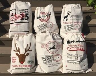 Personalized Santa Sack, 6 Designs! Santa Bag, Santa Sack with Name, Christmas Sack, Gift Bag, Gift Sack, Christmas Gift Bag, Christmas Gift