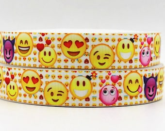 "Emoji  Grosgrain 7/8"" Printed Ribbon"