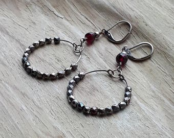Garnet birthstone earrings, silver hoop earrings, hoops, bohemian hoops, antique silver hoop earrings, gypsy hoops, rustic hoop earrings