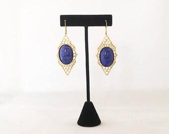 Hot Summer Sale Lapis on Filigree Earrings - 24kt Gold Earrings - Handmade