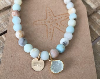 Amazonite Matte Bead Bracelet with Druzy and initial charm