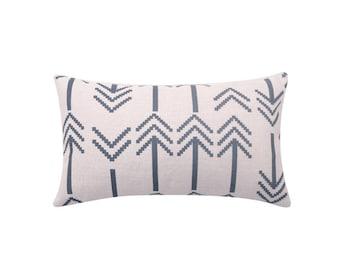 Arrow lumbar decorative pillow covers Tribal waist throw pillow covers Ethnic lumbar pillow case Gray arrow cushion case Home decor 12x20