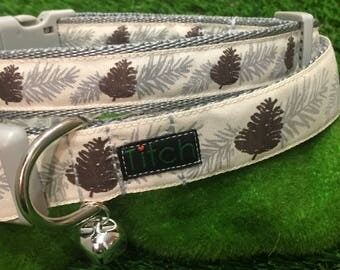 Silver Pine dog collar and lead, christmas dog collar, grey dog collar, pine cone dog collar, woodland dog collar, winter dog accessory