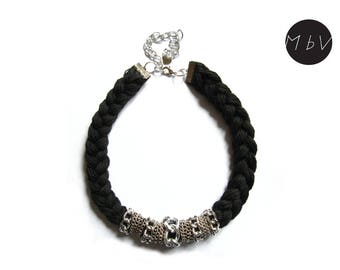 Fashion Jewelry Modern Black Necklace with Metal Chain and Cotton