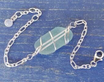 Aqua Sea Glass & Sterling Silver Bracelet - Larger Centerpiece