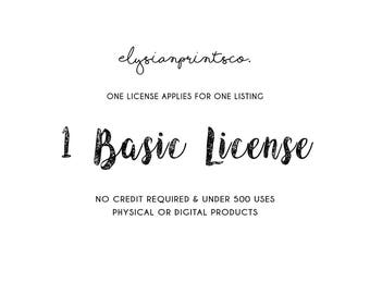 1 Basic License for Commercial Use | Under 500 Units for Sale | For  PAPERS, CLIPART & DOLLS sections only
