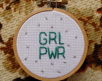 """GRL PWR Hand Embroidery in a 3"""" Hoop"""