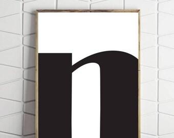 70% OFF SALE large letter art, n type art, bold letter art, digital download, n large letter, black and white art, modern bold art, wall dec