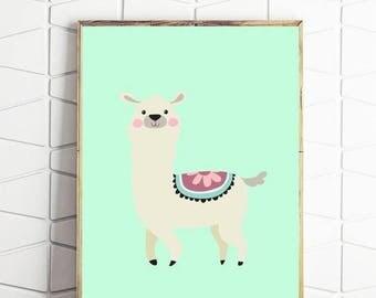 80% OFF llama printable, llama art, llama wall decor, llama wall art, llama digital download, llama instant art