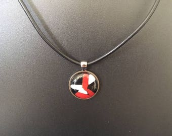 Black and Red Fused Glass Pendant Necklace