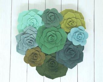 Succulent heart, Valentine's day gift, succulent wall art, felt succulents on a wood heart, succulent art, valentine gift