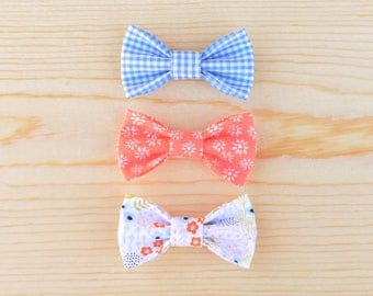 Spring Bow Set, Blue Bow, Coral Bow, Floral Bow