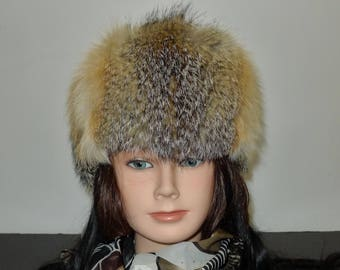 Warm  Prairie fox fur headband - S/M in very good condition - Chaud bandeau de renard des prairies - P/M