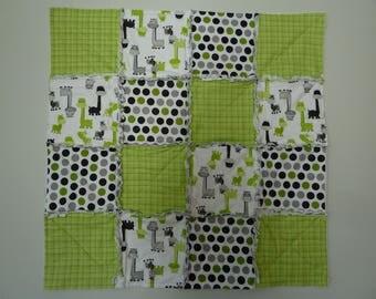 Rag Quilt - Giraffe, Green Plaid, Green and Black Polk-a-dot Squares