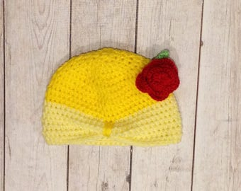 Princess Hat - Princess Inspired Hat - Princess Crochet Hat - Princess Beanie - Yellow Princess Hat - Princess Hat with Rose - Kids Hat