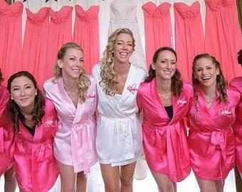 Satin Bridesmaid Robe-Satin Bride Robe-Glitter Robe-Monogrammed-Bridesmaid Robe-Monogrammed Robe-Personalized Robe-Monogrammed Satin Robe