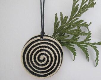 ceramic black pendant, ethnic ceramic necklace, pottery handmade, artistic pendant, bohemian pendant, ceramic jewelry, gift for girl