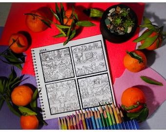 Le calendrier-livre de coloriage