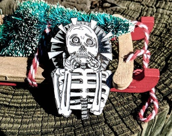 Halloween Pin Skull Pin   Scaredy Skeleton Pin Skull Pin   Horror Enamel Pin October Birthday Glow in the Dark Pin Punk Pin   Monster Pin
