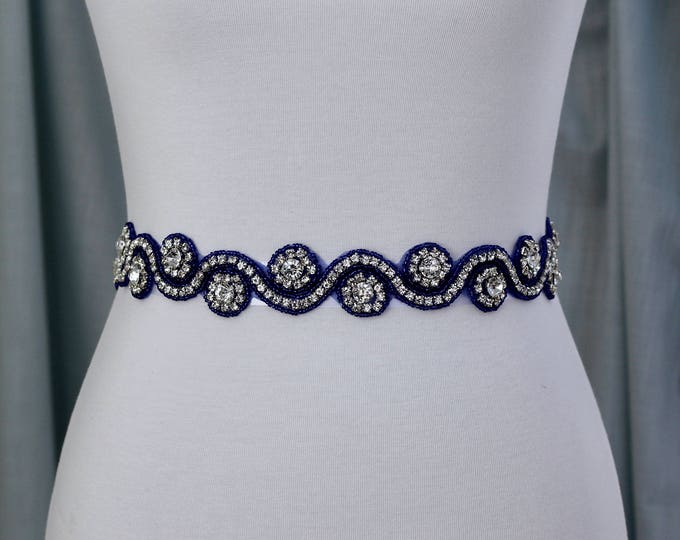 Blue Rhinestone Dress Sash - The Perfect Elegent Wedding Dress Belt