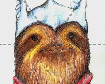 Thor-Sloth: 5x7 Print