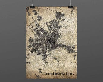 Freiburg i. B. - DIN A4 / DIN A3 - print - turquoise