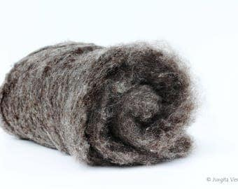 Carded Sheep Wool 50 g, Gray / Grey Wool, Wool for Wet / Dry Felting, Natural Wool, Ecological Wool, Natural Fiber, Spinning, Craft Supply