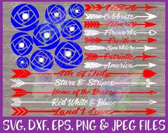 4th of July SVG July 4th SVG USA Svg Patriotic Svg Arrow Words Svg Freedom Svg America Svg Fireworks Svg Dxf Eps Png Jpg Digital Download