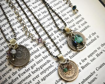 Coin, crystal, bead, bohemian necklaces