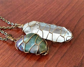 Wire wrapped Bloodstone and Wire Wrapped Quartz Crystal Necklace Set