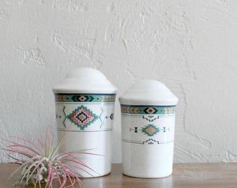 VACATION SALE Southwest Salt and Pepper Shaker, Southwestern Salt and Pepper Set, Ceramic Tribal Shaker, Navajo Kitchen, Aztec Shaker, Stone