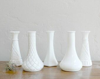 5 Milk Glass Vases, Milk Glass Bud Vases, Wedding Table Decor, Set of Vases, Milk Glass Candlesticks, Vase Collection, Cottage Chic Vases