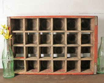 Coke Crate, Vintage Red Coca Cola Crate, 24 slot, Wooden crate, 1971 Chattanooga, Wonderful Condition! Farmhouse Decor, advertising crate