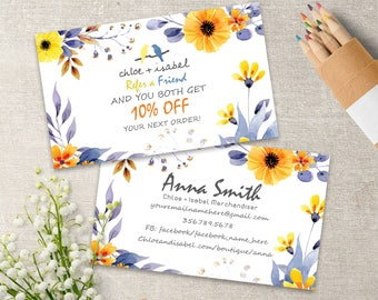 Chloe And Isabel Referral Cards, Chloe + Isabel Refer a Friend Card, Personalized, 3.5x2, Watercolor Flowers Style