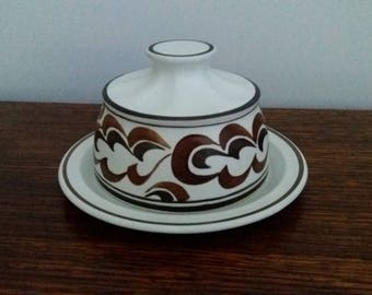 Vintage E Radford hand painted pottery cheese, butter dish, 1970s