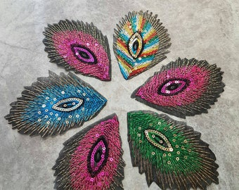 Set of 6 Iron on feather Appliques