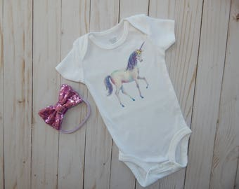 Baby girl bodysuit, Baby girl outfit and headband, Unicorn baby girl, 3 month baby girl bodysuit