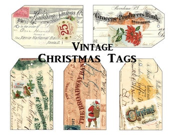 Vintage Christmas Tags, Vintage Font Letterhead, Retro Christmas Holiday Tags, Junk Journal Tags, Altered Book Tags, Ephemera Tags