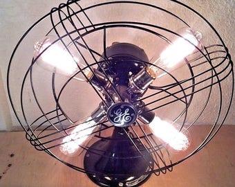 Repurposed 1941 General Electric Oscillating Table Top Fan Lamp