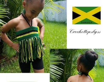 Girls' Crochet Bandeau Fringe Top (Jamaica)